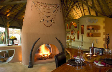 Okonjima Select Private Bush Suite Fireplace & Dinning area